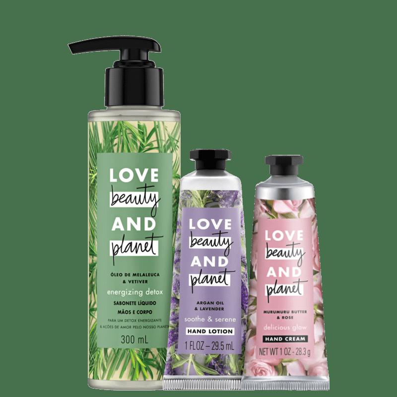 Kit Love, Beauty and Planet - Sabonete líquido Energizing Detox + Creme de mãos Soothe and Serene + Creme de mãos Delicious Glow
