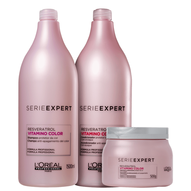 Kit L'Oréal Professionnel Serie Expert Vitamino Color Resveratrol Trio Salão (3 Produtos)