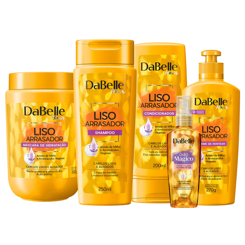 Kit DaBelle Hair Liso Arrasador Multiprotetor Full (5 Produtos)