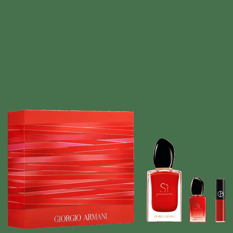 Conjunto Sì Passione Giorgio Armani Feminino - Eau de Parfum 50ml + Eau de Parfum 7ml + Batom
