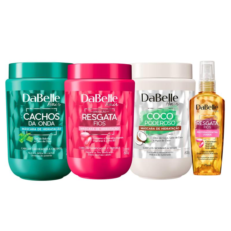 Kit DaBelle Hair Cronograma Capilar Cachos Proteína (4 Produtos)