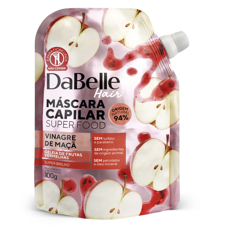 Dabelle Super Food Máscara Vinagre Maça e Geleia Frutas 100g