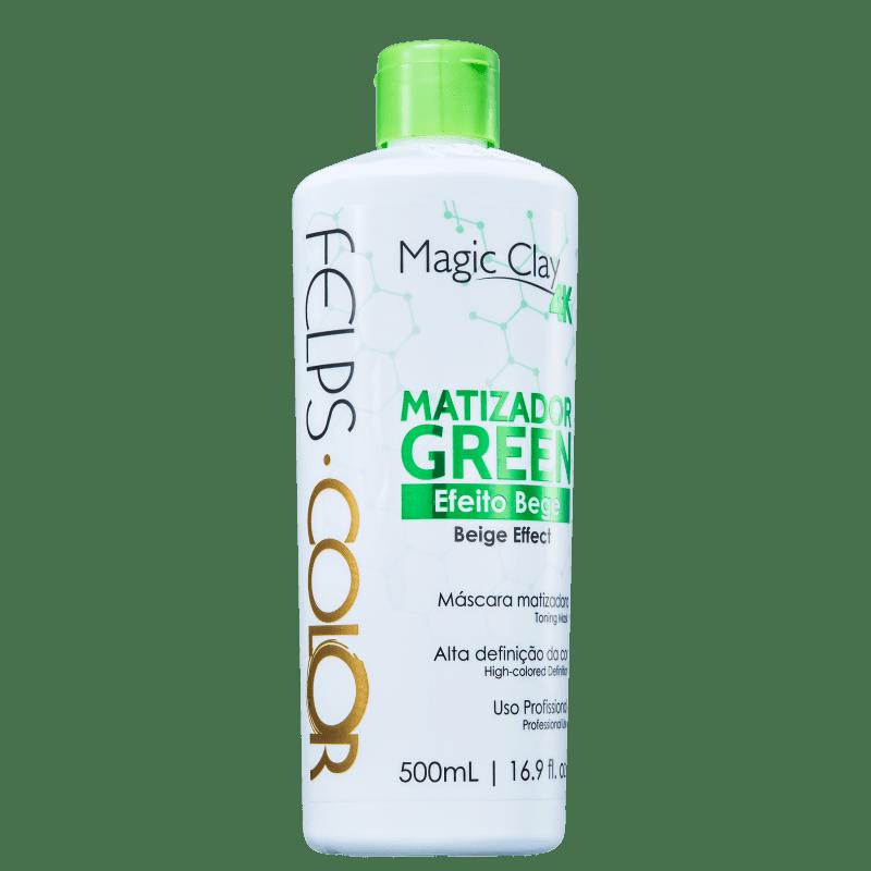 Felps Color Magic Clay 4K Green Efeito Bege - Máscara Matizadora 500ml