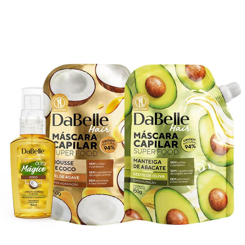 Kit DaBelle Super Food Nutrição - Manteiga de Abacate e Azeite de Oliva + Mousse de Coco e Mel Agave + Óleo Mágico de Coco