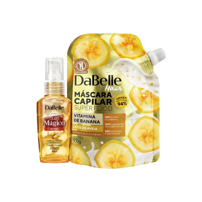 Kit Dabelle Super Food - Vitamina de Banana e Leite de Aveia + Óleo Blend Rícino