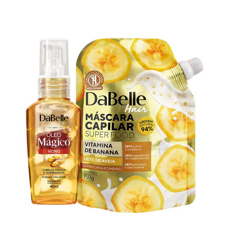 Kit Dabelle Super Food - Vitamina de Banana e Leite de Aveia + Óleo Blend Rícino