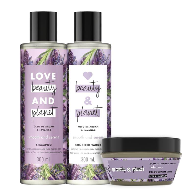 Kit Love, Beauty and Planet - Shampoo + Condicionador Smooth and Serene + Desodorante Relaxing