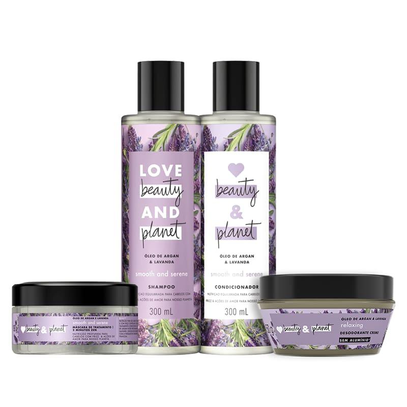 Kit Love, Beauty and Planet - Shampoo + Condicionador + Máscara Smooth and Serene + Desodorante Relaxing