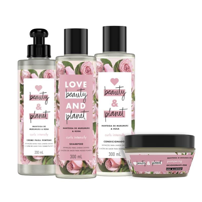 Kit Love, Beauty and Planet - Shampoo + Condicionador + Creme para Pentear + Desodorante Pampering