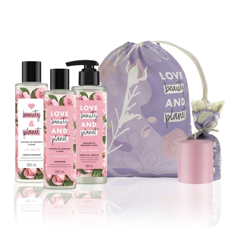 Kit Love, Beauty and Planet - Shampoo + Condicionador Curls Intensify + Sabonete Caring Moisture + Vela perfumada rosa + Saco de pano