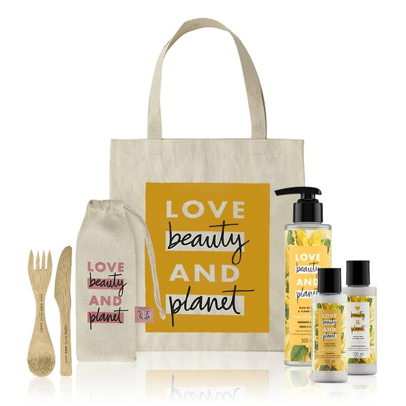 Kit Love, Beauty and Planet - Shampoo + Condicionador 100ml + Creme para Pentear Hope and Repair + Ecobag Amarela + Talheres de Bambu