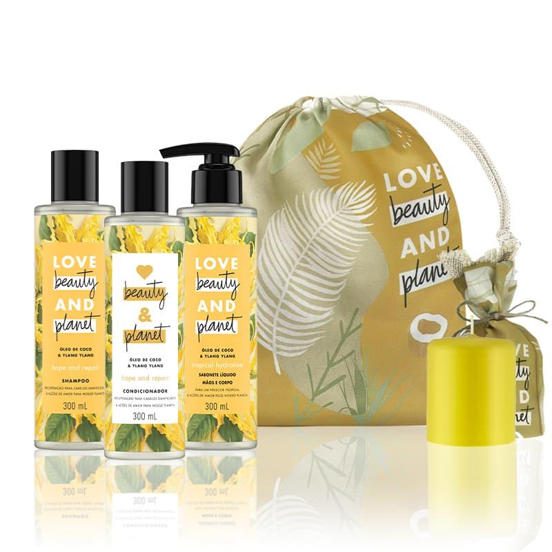 Kit Love, Beauty and Planet - Shampoo + Condicionador 300ml Hope and Repair + Sabonete líquido Tropical Hydration + Saco de pano + Vela aromárica