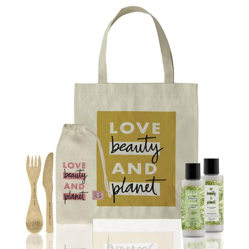 Kit Love, Beauty and Planet - Shampoo + Condicionador 100ml Energizing Detox + Ecobag + Talheres de Bambu