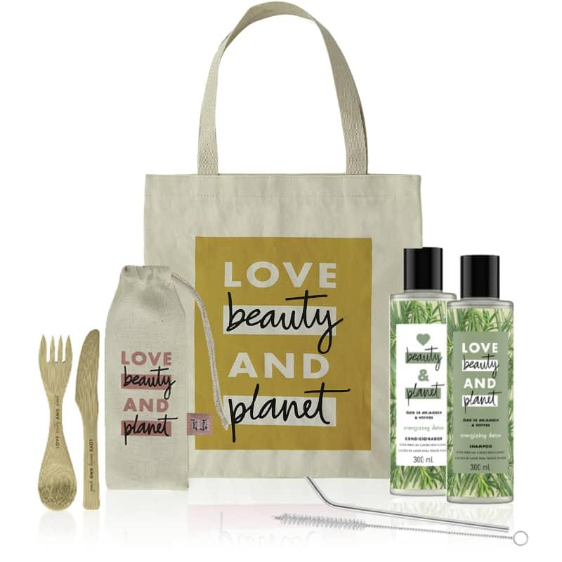 Kit Love, Beauty and Planet - Shampoo + Condicionador 300ml Energizing Detox + Ecobag + Talheres de Bambu + Canudo