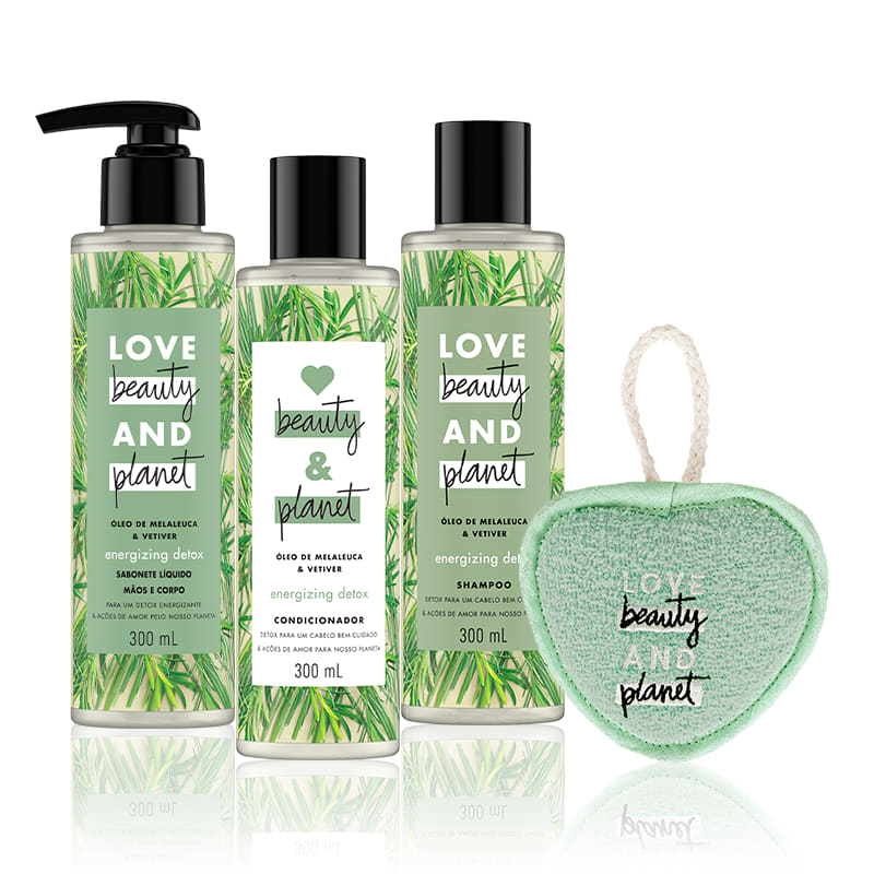 Kit Love, Beauty and Planet - Shampoo + Condicionador 300ml + Sabonete líquido Energizing Detox + Esponja de banho