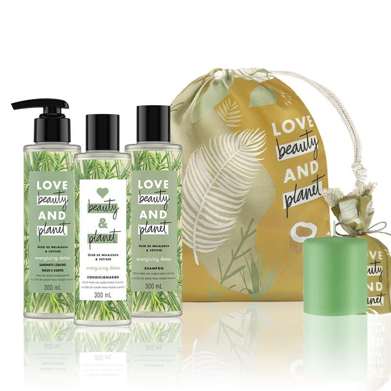 Love, Beauty and Planet - Shampoo + Condicionador + Sabonete Energizing Detox + Saco de Pano + Vela perfumada verde