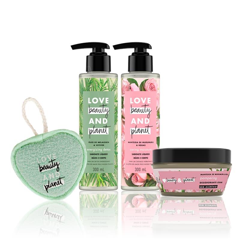 Kit Love, Beauty and Planet - Sabonete líquido Caring Moisture + Sabonete líquido Energizing Detox + Desodorante em creme Cream Pampering + Esponja de banho