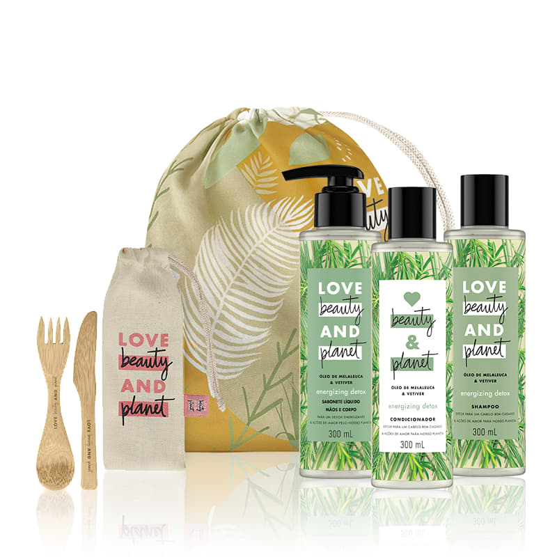 Kit Love, Beauty and Planet - Shampoo + Condicionadorl + Sabonete Energizing Detox + Saco de pano + Talheres de Bambu