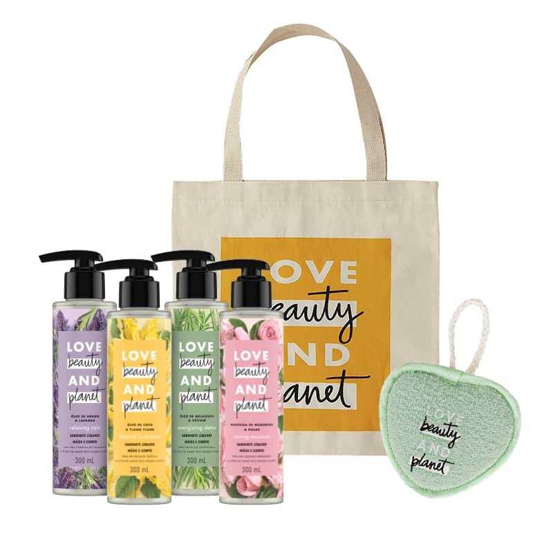 Kit Love, Beauty and Planet - Sabonetes + Ecobag Amarela + Esponja