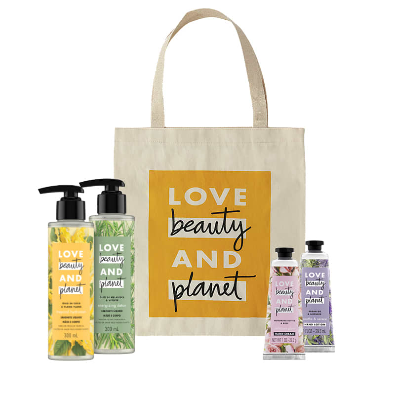 Kit Love, Beauty and Planet - Sabonete líquido Tropical Hydration + Sabonete líquido Energizing Detox + Creme de mãos Soothe and Serene + Creme de mãos Delicious Glow + Ecobag