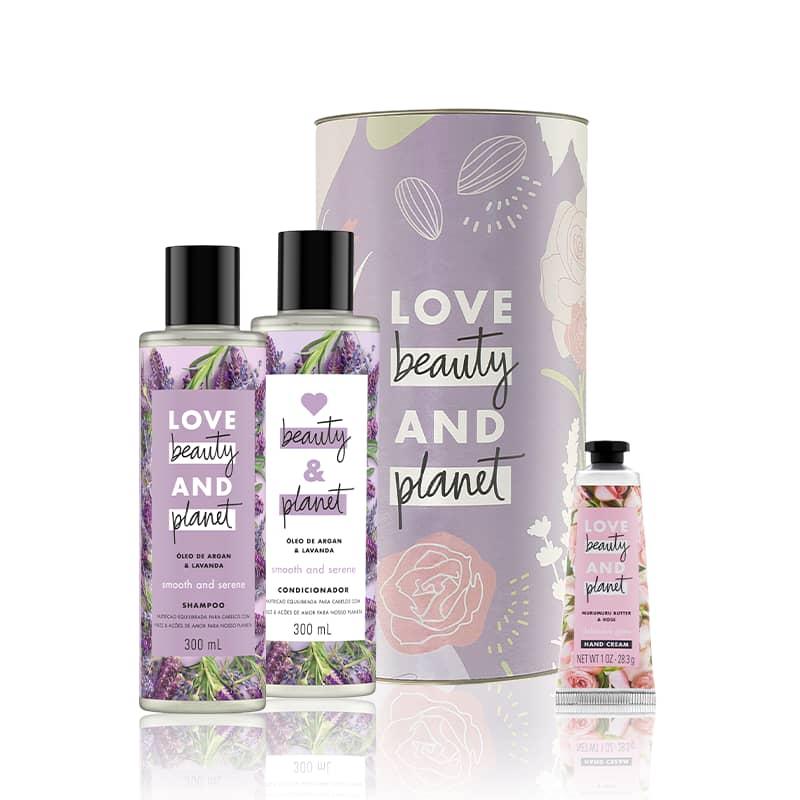 Kit Love, Beauty and Planet - Shampoo + Condicionador  Smooth and Serene + Creme de mãos Delicious Glow + Lata