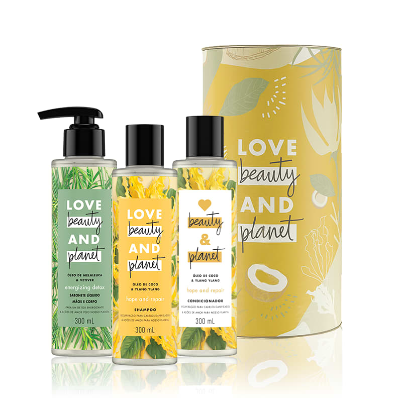 Kit Love, Beauty and Planet - Shampoo + Condiciondor Hope and Repair + Sabonete Energizing Detox