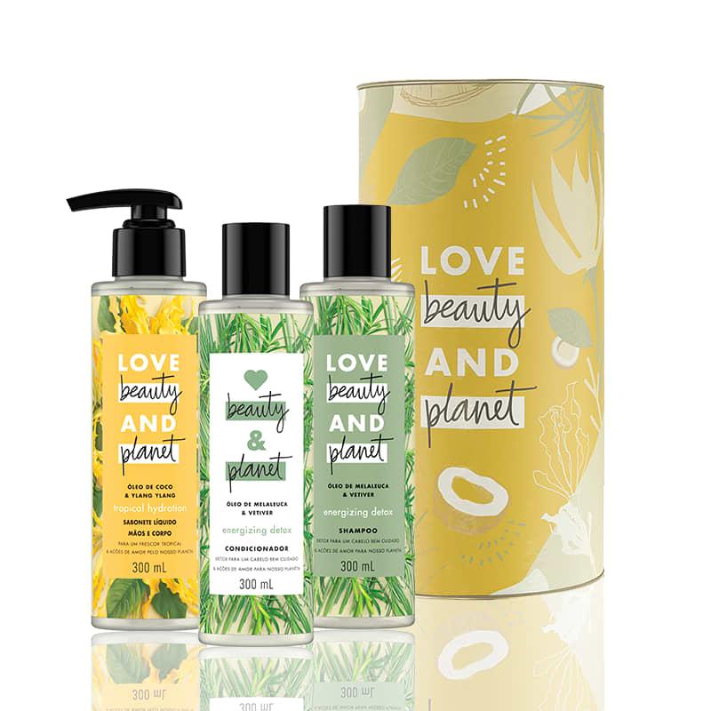 Kit Love, Beauty and Planet - Shampoo + Condiciondor Energizing Detox + Sabonete Hope and Repair