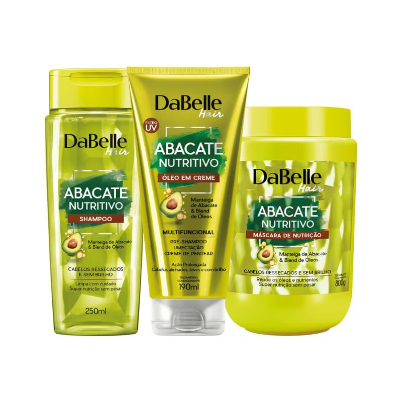 Kit Shampoo Abacate Nutritivo, Máscara de Nutrição e Óleo em Creme