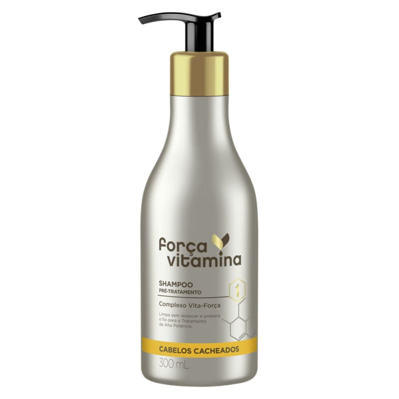 Shampoo Pré-Tratamento Força Vitamina Cabelos Cacheados 300mL