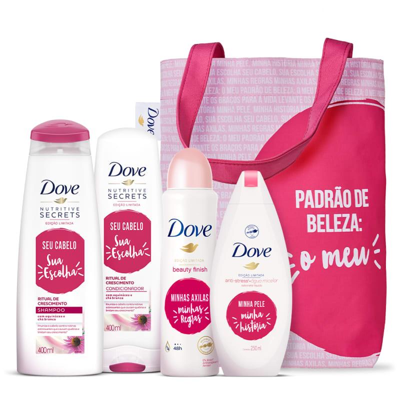 Kit Dove cuidado diário: cabelo, pele e axila
