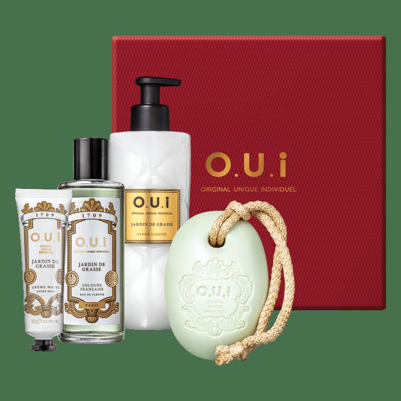 O.U.i Kit Jardin de Grasse - Sabonete Barra 190g + Eau de Parfum 75ml +  Sabonete Líquido 400ml + Creme de Mãos 30g