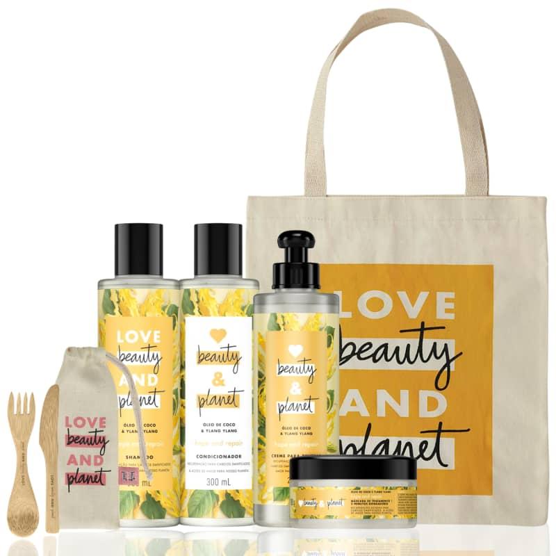 Kit Love, Beauty and Planet - Shampoo + Condicionador + Creme para Pentear + Máscara Hope and Repair + Brindes Exclusivos