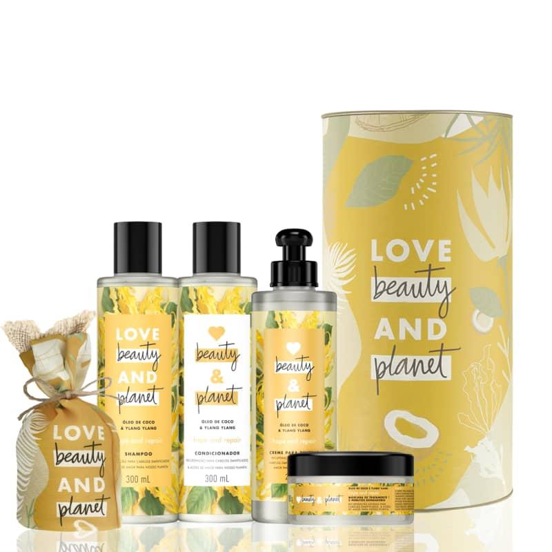Kit Love, Beauty and Planet - Shampoo + Condicionador + Creme para Pentear + Máscara Hope and Repair + Vela + Lata