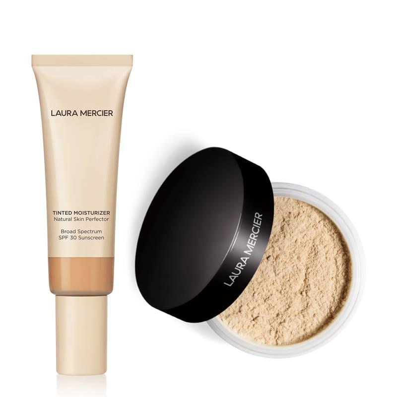 KIT com Tinted Moisturizer Natural Skin Perfector SPF30 Nude 2N1 e Translucent Loose Setting Powder Translucent
