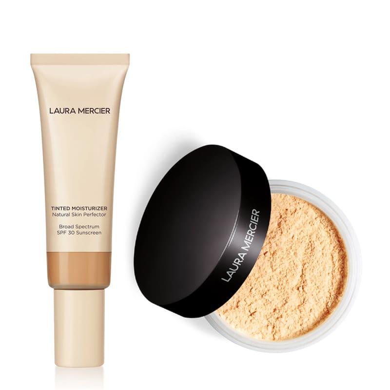 KIT com Tinted Moisturizer Natural Skin Perfector SPF30 Sand 3N1 e Translucent Loose Setting Powder Honey