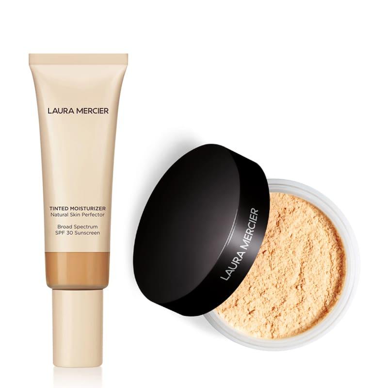 KIT com Tinted Moisturizer Natural Skin Perfector SPF30 Tawny 4W1 e Translucent Loose Setting Powder Honey