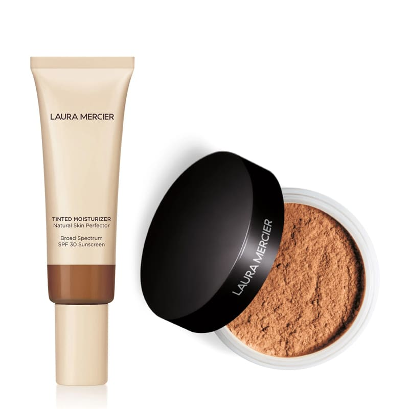 KIT com Tinted Moisturizer Natural Skin Perfector SPF30 Mocha 6N1 e Translucent Loose Setting Powder Medium Deep