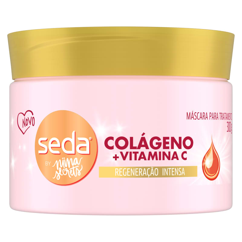 Máscara para Tratamento Seda Colágeno + Vitamina C by Niina Secrets 300g