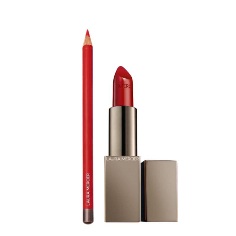 Kit Longwear Lip Liner Red Velvet e Rouge Essentiel Silky Crème Lipstick Rouge Ultime
