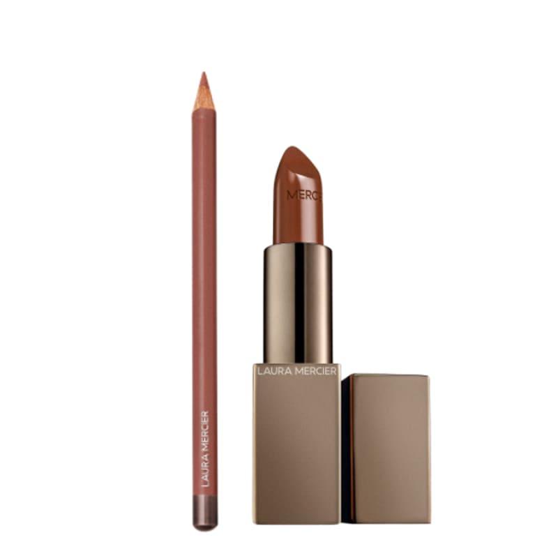 Kit Longwear Lip Liner Hazelnut Tea e Rouge Essentiel Silky Crème Lipstick Brun Naturel