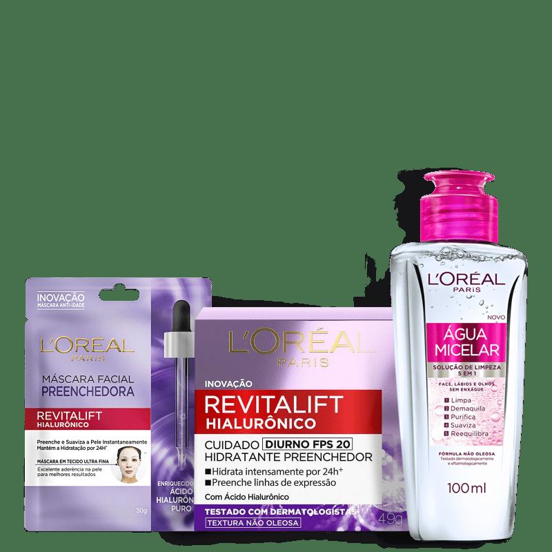 Kit L'Oréal Paris Tratamento Facial Trio (3 Produtos)