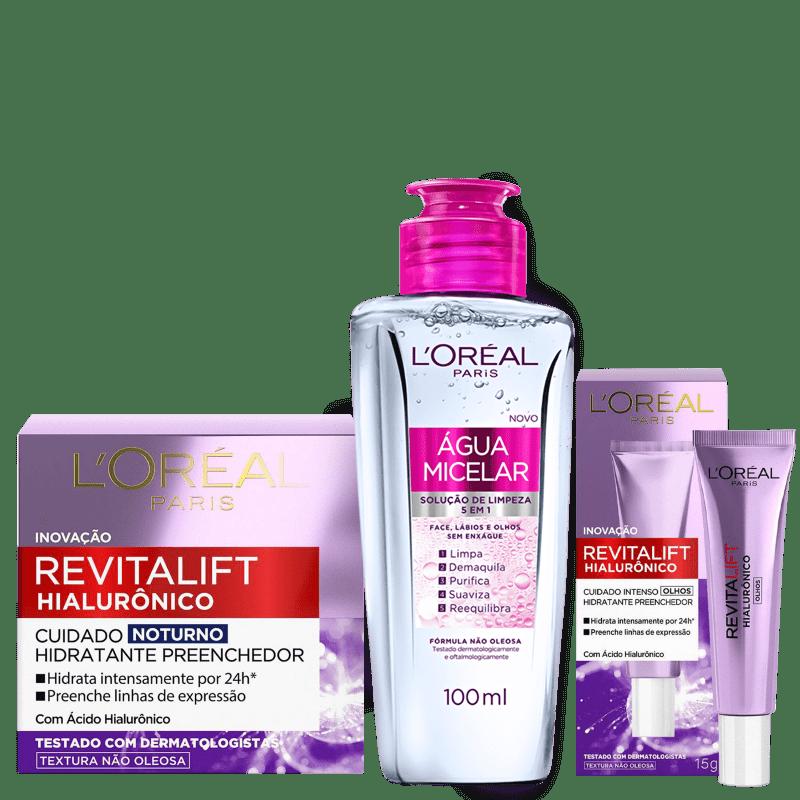 Kit L'Oréal Paris Tratamento Facial Noturno Trio (3 Produtos)