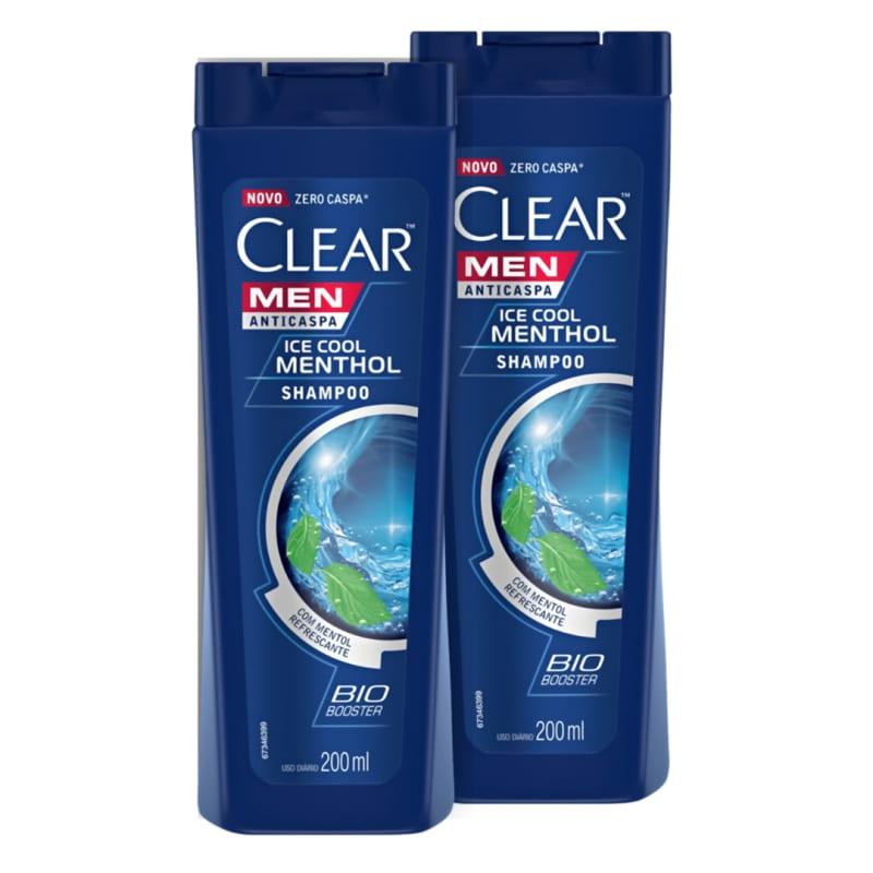 Kit 2 Shampoos Anticaspa Clear Ice Cool Menthol 200ml