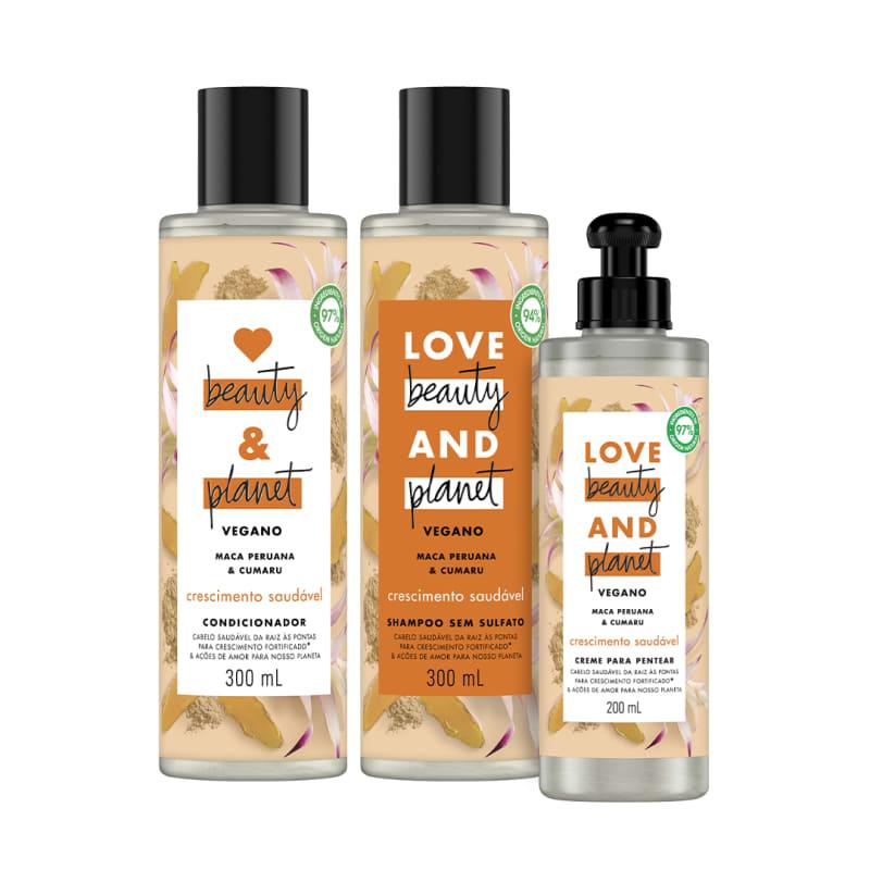 Kit Love, Beauty and Planet - Shampoo + Condiciondor + Creme para Pentear Crescimento Saudável