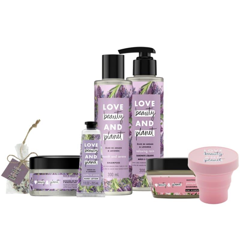 Kit Love, Beauty and Planet - Shampoo + Máscara Capilar + Creme de mãos Smooth and Serene + Sabonete Relaxing Rain + Brindes