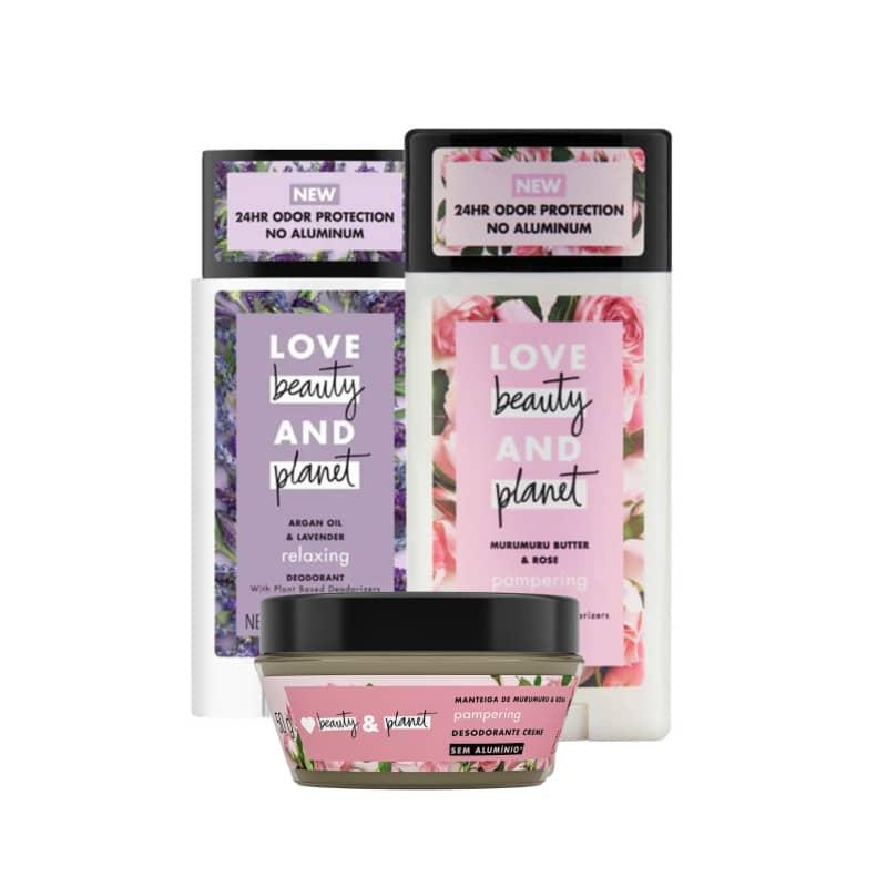 Kit Love, Beauty and Planet - Desodorante Stick Lavanda e Óleo de Argan + Desodorande Stick + Desodorante em Creme Manteiga de Murumuru e Rosas