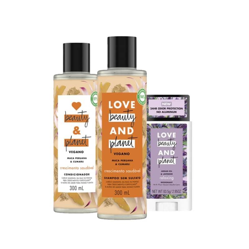 Kit Love, Beauty and Planet - Shampoo + Condicionador Crescimento Saudável + Desodorante Stick Lavanda e Óleo de Argan