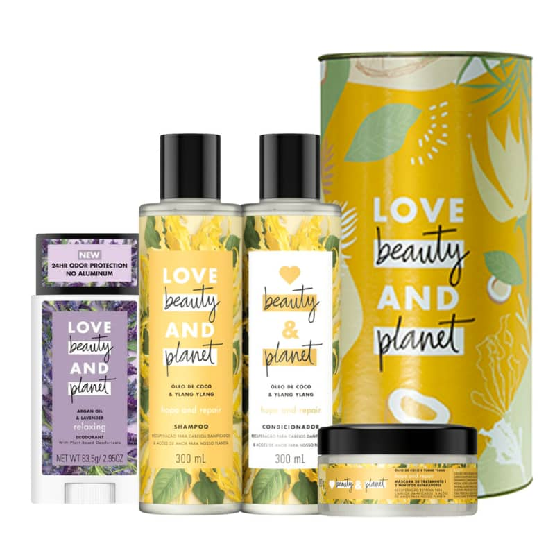 Kit Love, Beauty and Planet - Shampoo + Condicionador + Máscara Hope and Repair + Desodorante Stick Lavanda e Óleo de Argan + Lata