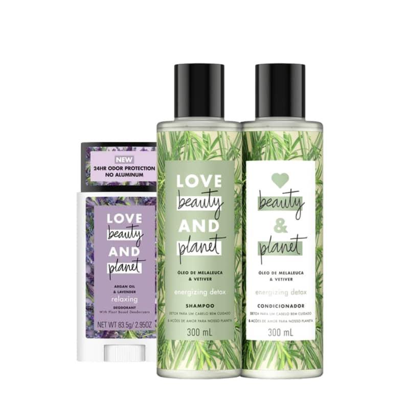 Kit Love, Beauty and Planet - Shampoo + Condicionador Energizing Detox + Desodorante Stick Lavanda e Óleo de Argan