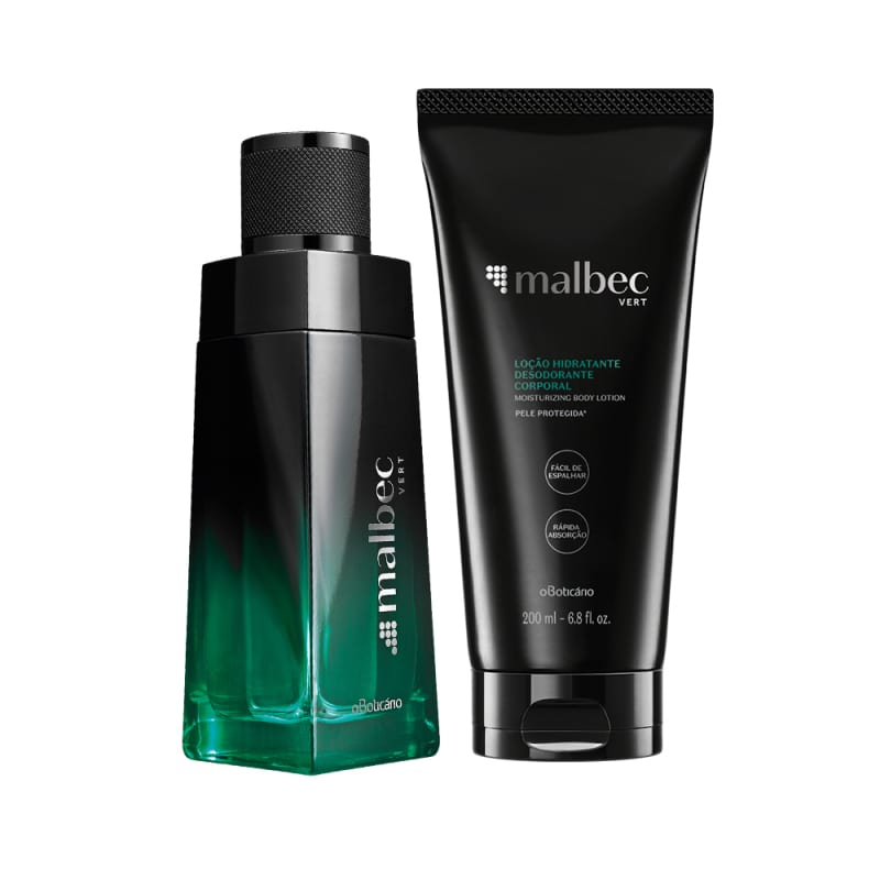 Combo Malbec Vert: Desodorante Colônia, 100ml + Loção Hidratante Corporal, 200ml